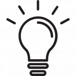 Image of a lightbulb. Icons made by Good Ware from Flaticon.